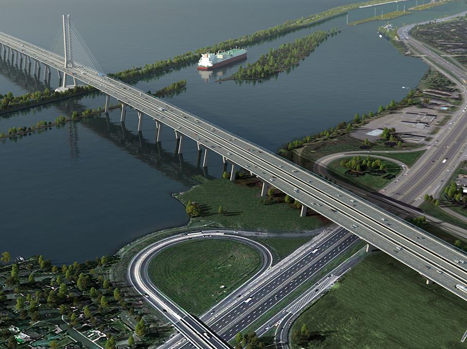 L'entrée du nouveau pont Champlain depuis Brossard